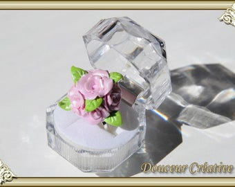 Pink flowers ring 102013