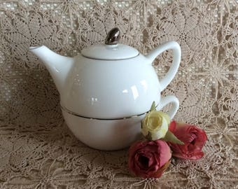 Lovely Royale Stratford small teapot with cup Snow White porcelain silver trim hand made