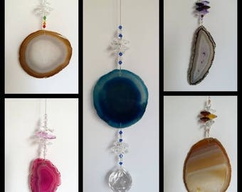 Agate crystal sun catchers