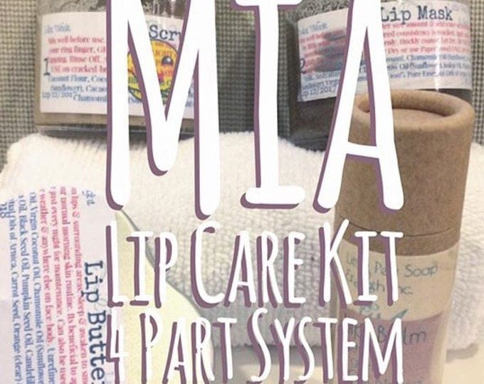 Featured listing image: Mia Lip Care - 4 part system to bring your mouth and lips back to life - 100% natural - Vegan - Artisan - Lip scrub Mask Butter and Balm