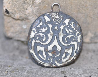Ceramic textured pendant clay two sided ceramic supply ceramic pendant  primitive jewelry clay tribal jewelry component for jewelry making