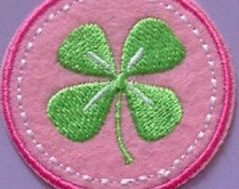 Patch fusible embroidered fabric 4 leaf clover iron 4.5 cm