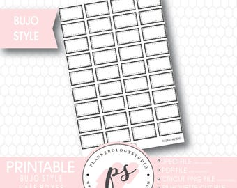 Bullet Journal Bujo Half Boxes Printable Planner Stickers | JPG/PDF/Silhouette Cut Files