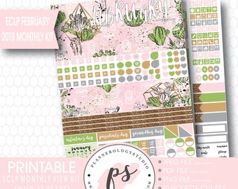 Wild at Heart February 2018 Monthly View Kit Printable Planner Stickers (for Erin Condren ECLP) | JPG/PDF/Silhouette Cut File