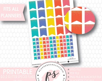 Gold Glitter Specks Flags Printable Planner Stickers | Bliss | JPG/PNG/Silhouette Cut Files/Blackout Files