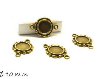 10 versiones como conectores para 10 mm cabuchons en vintage bronce