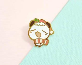 festive connor the panda enamel pin