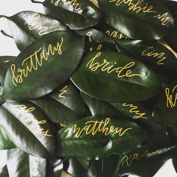 """Magnolia Leaf Place Cards """"Brittany"""" Style, Gold Ink"""