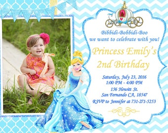 Princess Cinderella Invitation Printable, Princess Cinderella Birthday Party
