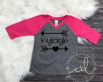 Personalized Name Shirt - Arrow Name Raglan Shirt -Girls Raglan Shirt - Name Arrow Shirt - Name Arrow Raglan Shirt