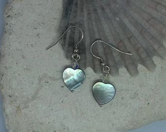 Heart Shaped Mother of Pearl and Swarovski Crystal Hook Earrings