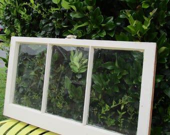 vintage antique 3 pane 32x18 wood window sash frame wedding picture frame 32 - Window Pane Frame
