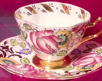 Pretty in Pink-Stunning Rosina Pedestal Teacup and Saucer