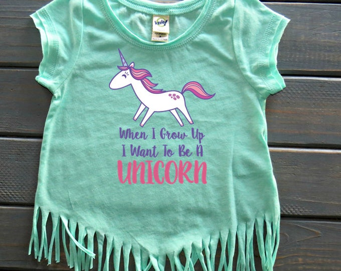 When I Grow Up Fringe Tee, Unicorn Tee, Unicorn Birthday, Girls' Birthday Shirt, Gifts For Girls