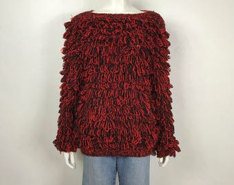 Vtg 80s Clovis Ruffin red black shag knit fringe avant garde sweater