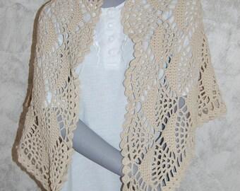 Beige hand crocheted shawl