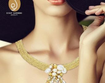 Pearl Necklace choker, Bridal choker necklace, Pearl statement necklace, Pearl choker, Pearl wedding choker