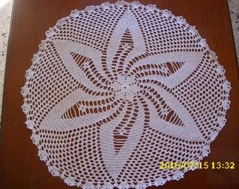 "Handmade crochet ""rose"" lace doily"