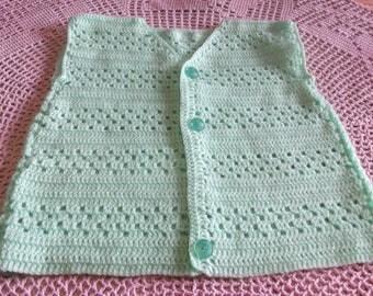 Green 3/4 years old hand made crochet sleeveless jacket