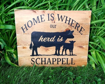 Home is Where Our Herd Is custom wood pallet sign- Farm/Country/Cow/Rustic/Herd/Sign/Stable/Farmer/Livestock/Gift/Name