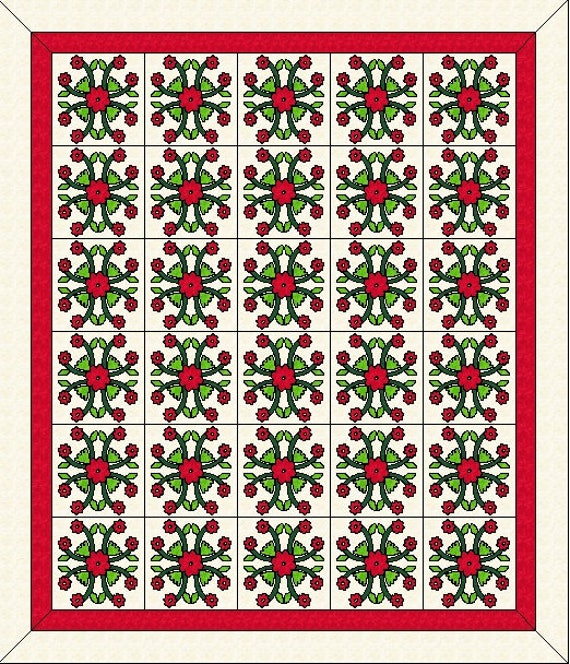 Rose Of Sharon Quilt Top Kit Wedding Quilt Pre-Cut Pieced