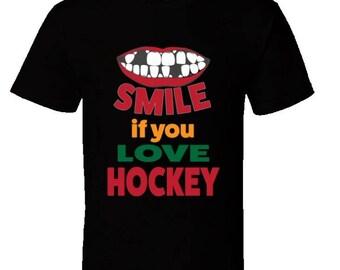 Smile If You Love Ice Hockey T-Shirt,ice hockey girls,hockey clothing,high school ice hockey,youth ice hockey apparel, kids tshirts