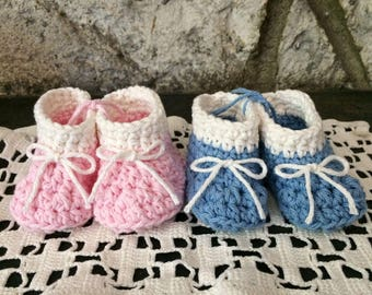 Crochet Baby Booties, Gender Reveal, Baby Announcement, Pregnancy Announcement, 100% Cotton, Handmade in CA