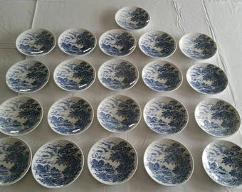 "21 enoch wedgewood countryside saucers 5.5"" - made in england - tunstall 1960 's blue & white dishes - porcelain transferware dinnerware art"
