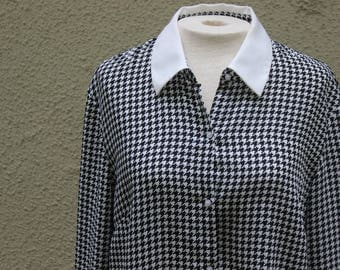 """90's Black and White Houndstooth """"Classic Shirt""""- M"""
