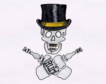Guzzling Top Hat Wearing Skull Embroidery Design | Skull Embroidery | Skull Design Embroidery | Skull EMB Design | Embroidery Skull Design