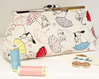 Clutch Bag - Purse - Hand Bag - Evening Bag - Prom Bag - Handmade bag featuring super cute cat and umbrella fabric with metallic accents