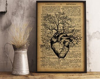 Anatomy Art Human Heart Tree Print Medical Student Gift Present for Cardiologist Thank you Gift for Doctor Cabinet Rustic Wall Decor (HA19)