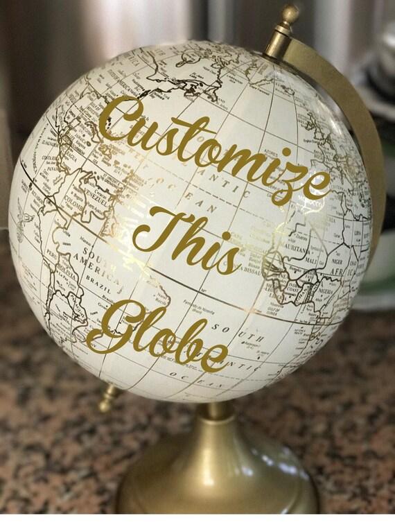 Custom Calligraphy Globe / White and Gold Calligraphy Globe / You Choose Custom Wording / Wedding Guest Book Globe/ Nursery Globe