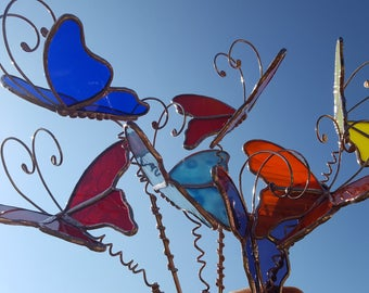 Butterfly stained glass garden stake custom handcrafted plant stake 3D yard art made to order