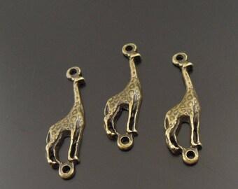 1 giraffe color Bronze 30x8mm connectors