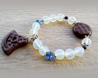 Tribal bracelet Harmony Boho bracelet Moonstone Cancer zodiac bracelet gemstone Stretch woman bracelet blue brown beaded bracelet mom's gift