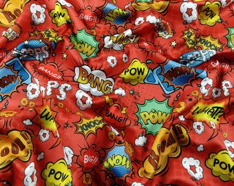 FS161_2 Exclusive Red Comic Boom Bang Pow Knock What Oops Wow Print High Quality Jersey Scuba Stretch Fabric - Sold Per Metre