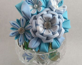 Frozen Blue Peony and Daisy Fascinator / Tsumami Kanzashi / Geisha Inspired / Alternative Fascinator / Floral Wedding Guest Fascinator