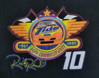 Vtg 1997 Ricky Rudd Tide 10th Anniversary Ford America's Favorite Nascar T Shirt | Vintage Retro Black Neon | Men's Women's Large | TUFF