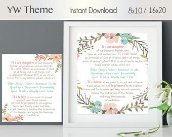 YW Theme Poster, Young Women's Theme, LDS, Poster in 2 Sizes 2 Models, Young Women Printable, Instant Download