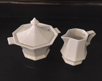 1950's Independence Ironstone InterPace Japan  White Sauce Boat Tureen & Creamer