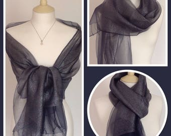 Navy Silver Sheen Silk Wrap Shawl Scarf Brides Bridesmaids Weddings Races Gift Idea