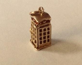 9K yellow gold British telephone box charm vintage antique # G 102