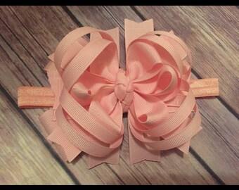 Baby Toddler OTT Bow HeadBand Pink