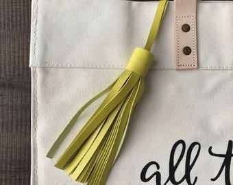 CHARTREUSE Leather tassel- bag accessories- key chain- luggage tag- bag bling
