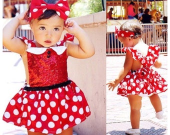 Disney Inspired Minnie Mouse Toddler Dress with Headband.  Made with Sequins.  Great Outfit for Birthday, Disney, Halloween Costume.