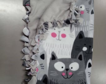 Cute Medium Hand-Tied Pet Blankets (grayscale kitties)