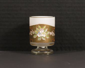 Bohemian Hand Decorated Footed Gilded Cigarette Holder with Enamel Beading and Applied Flowers