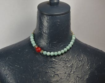 Amazonite Asymetric Choker with old Mali Trade Bead E 061