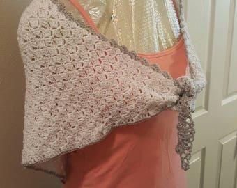 Shawl-Wrap made with Sparkle Vanna's Choice Yarn! So pretty! Light warmth.